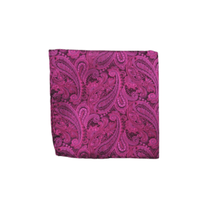 Colour Basis Raspberry and Black Paisley Pocket Square