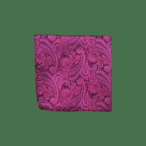 Colour Basis Raspberry and Black Paisley Pocket Square