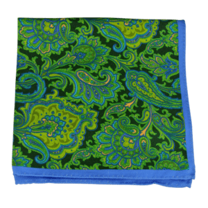 Ike Behar Green and Black Floral Detail Pocket Square