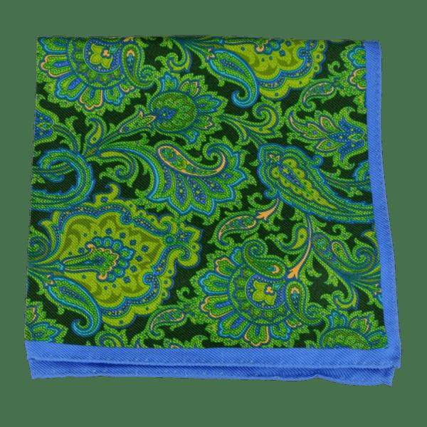 Ike Behar Green and Black Floral Detail Pocket Square