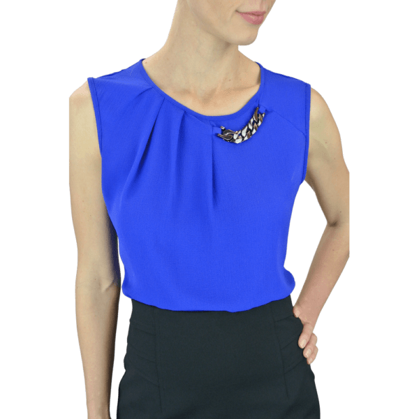 Sleeveless Blouse with Pleat and Chain Detail