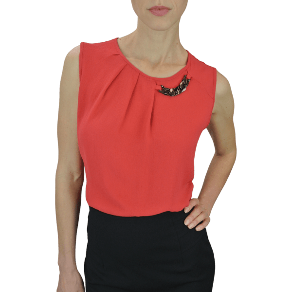 Sleeveless Papaya Blouse with Pleat and Chain Detail