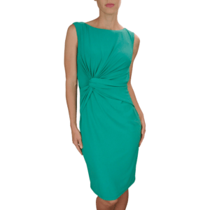Emerald Matte Jersey Twist Front Detail Dress