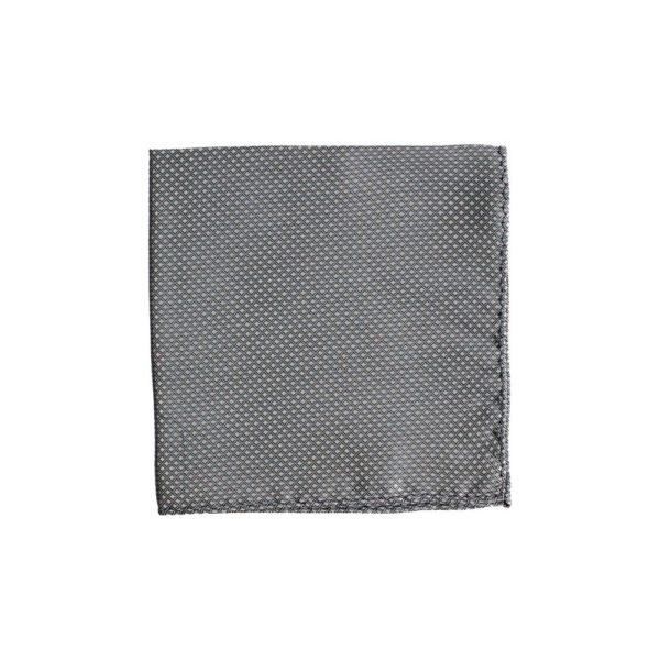Colour Basis Dark Silver Grey Diamond Weave Pocket Square