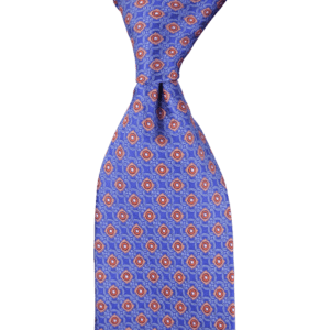 Colour Basis Blue with Orange Ornament Detail Tie