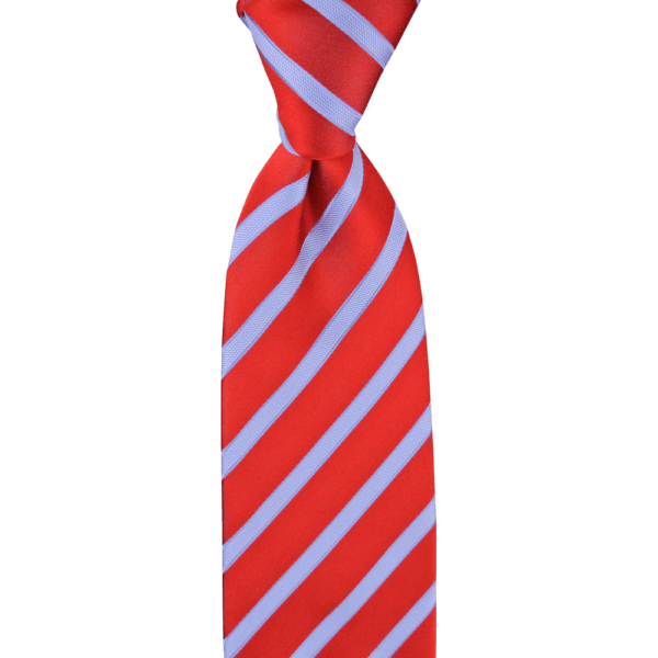 Colour Basis Red with Light Blue Stripes Tie