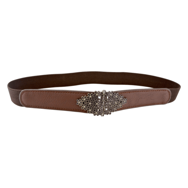 Women's Elastic Belt with Antique Bronze Floral Buckle