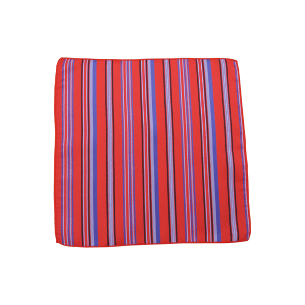 Colour Basis with Blue and Navy Stripes Pocket Square