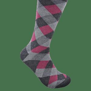 Geoff Nicholson Grey and Pink Square Socks