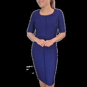 Navy Elbow Length Sleeve Dress