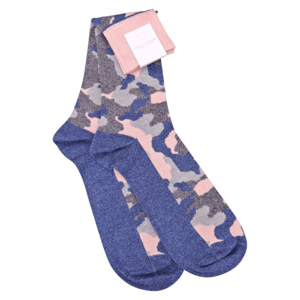 Pink and Navy Camo Socks