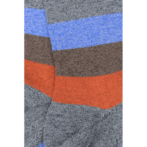 Grey and Orange Wide Stripe Socks